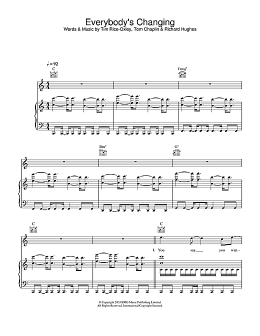 Keane Everybody's Changing sheet music notes and chords