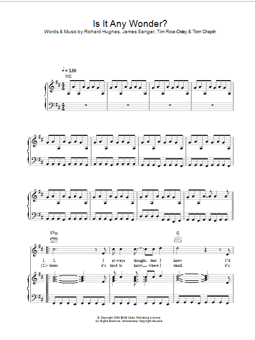 Keane Is It Any Wonder? sheet music preview music notes and score for Keyboard including 2 page(s)