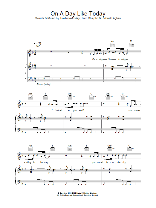Keane On A Day Like Today sheet music preview music notes and score for Piano, Vocal & Guitar including 5 page(s)