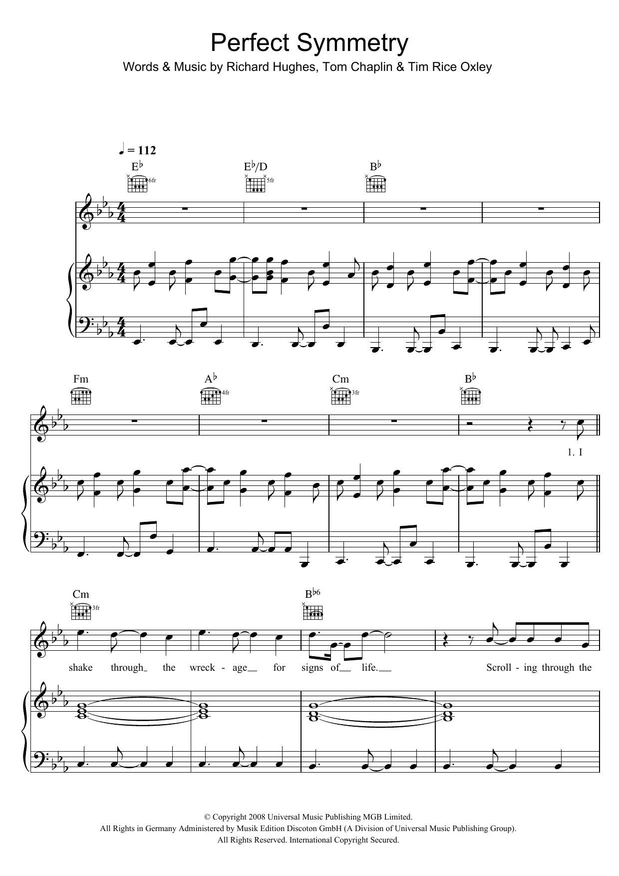 Keane Perfect Symmetry sheet music preview music notes and score for Piano, Vocal & Guitar including 7 page(s)