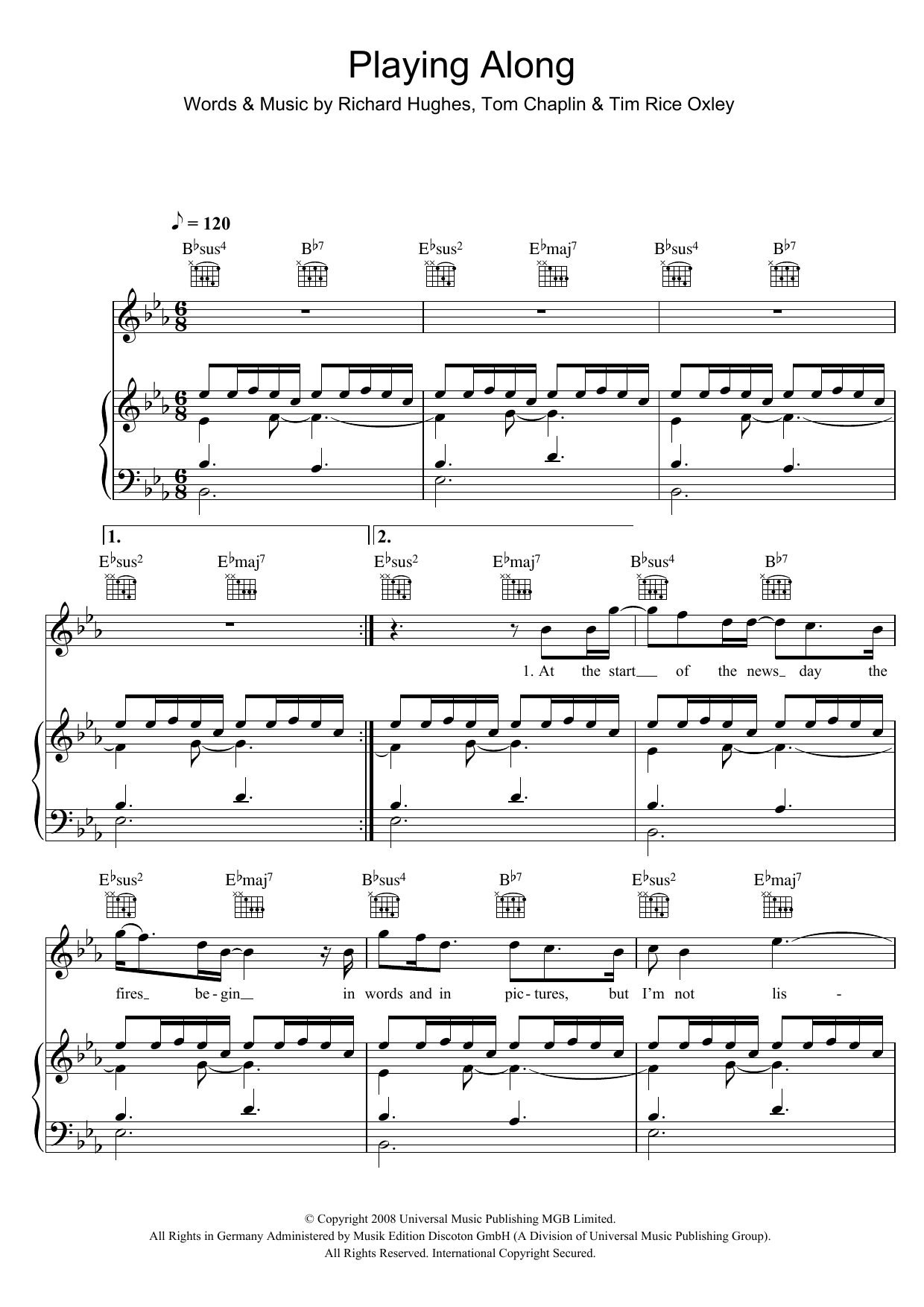Keane Playing Along sheet music preview music notes and score for Piano, Vocal & Guitar including 6 page(s)
