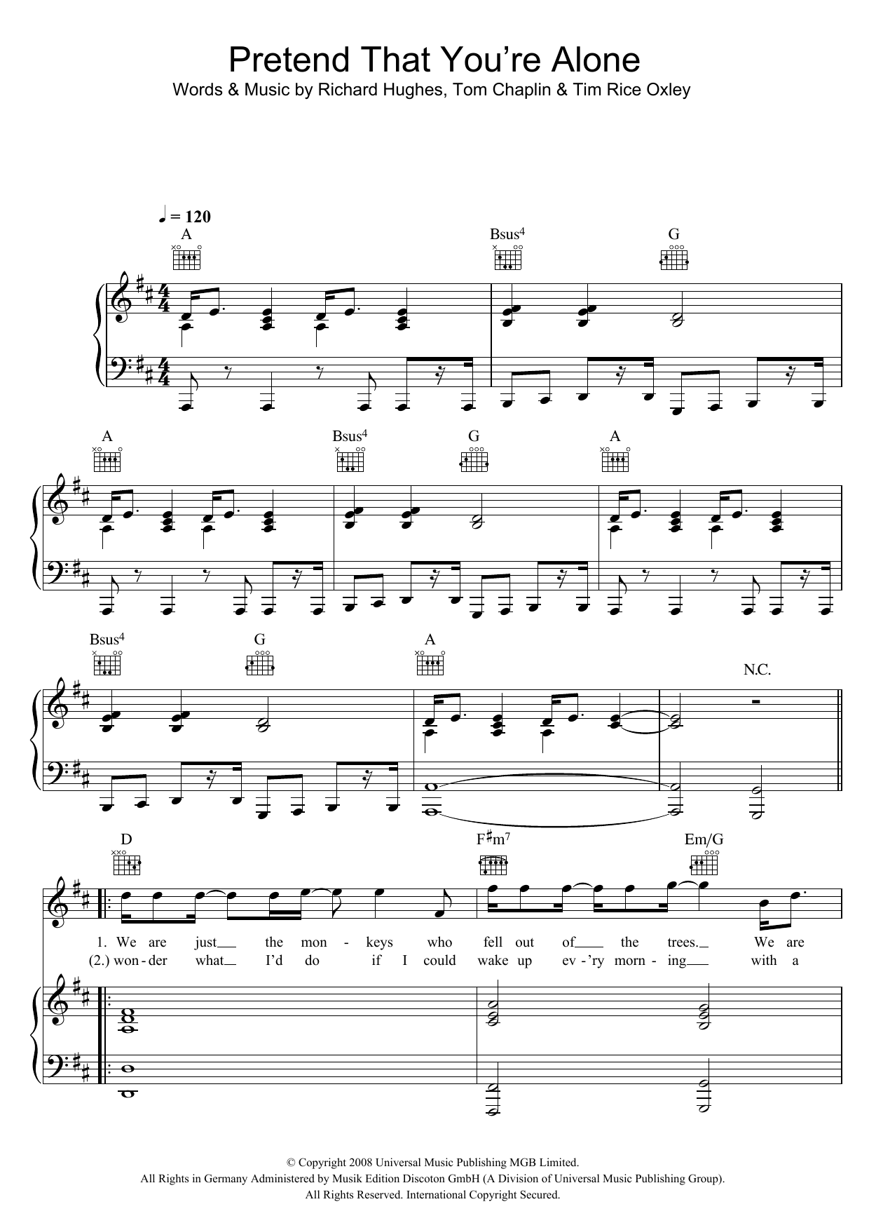 Keane Pretend That You're Alone sheet music preview music notes and score for Piano, Vocal & Guitar including 7 page(s)