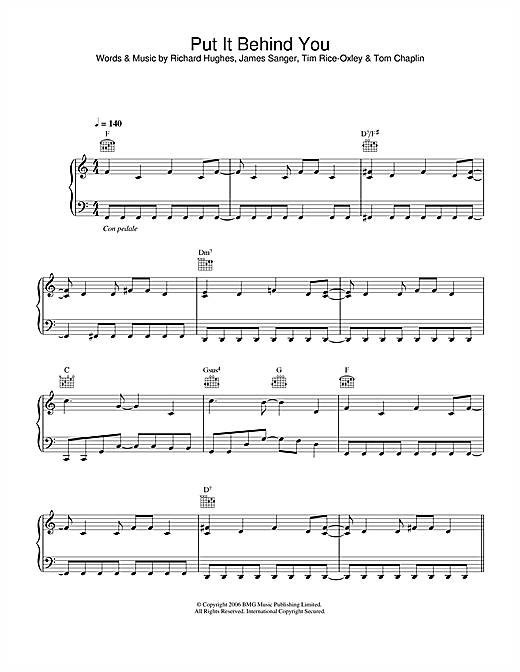 Keane Put It Behind You sheet music notes and chords