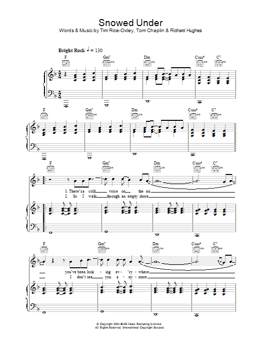 Keane Snowed Under sheet music preview music notes and score for Piano, Vocal & Guitar including 6 page(s)