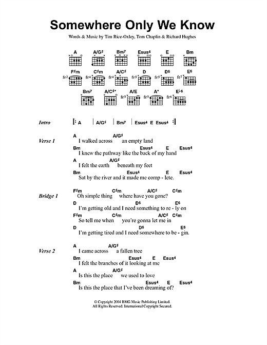 Download Keane 'Somewhere Only We Know' Digital Sheet Music Notes & Chords and start playing in minutes