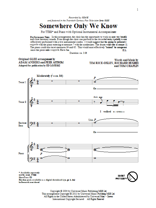 Keane Somewhere Only We Know (arr. Ed Lojeski) sheet music preview music notes and score for TTBB including 11 page(s)