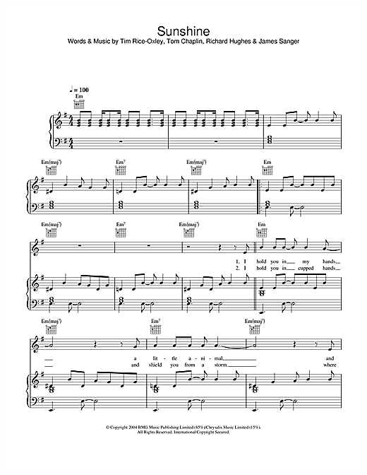 Keane Sunshine sheet music notes and chords