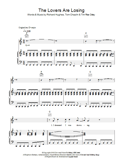 Keane The Lovers Are Losing sheet music preview music notes and score for Piano, Vocal & Guitar including 7 page(s)