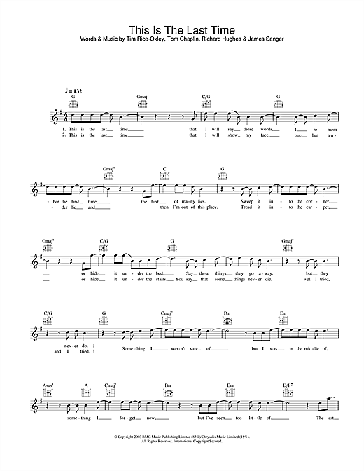 Keane This Is The Last Time sheet music notes and chords