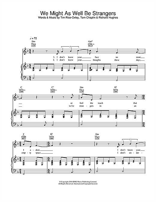 Keane We Might As Well Be Strangers sheet music notes and chords