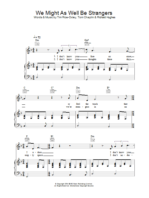 Keane We Might As Well Be Strangers sheet music preview music notes and score for Easy Piano including 3 page(s)