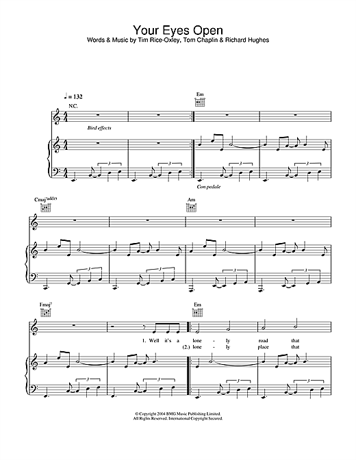 Keane Your Eyes Open sheet music notes and chords