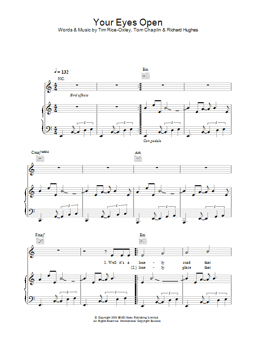 Keane Your Eyes Open sheet music preview music notes and score for Piano, Vocal & Guitar including 4 page(s)