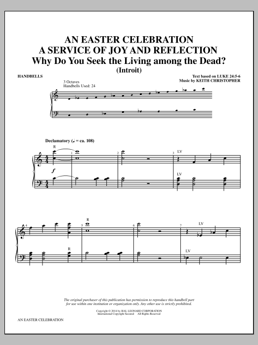 Download Keith Christopher 'An Easter Celebration - Handbells' Digital Sheet Music Notes & Chords and start playing in minutes