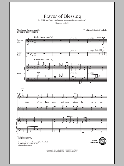 Traditional Prayer Of Blessing (arr. Keith Christopher) sheet music preview music notes and score for SATB including 5 page(s)