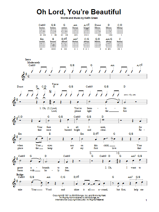 Keith Green Oh Lord, You're Beautiful sheet music notes and chords
