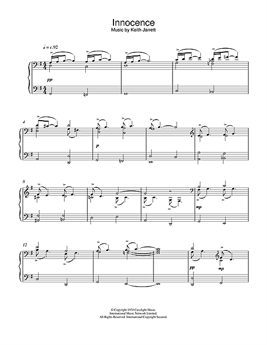 Download Keith Jarrett 'Innocence' Digital Sheet Music Notes & Chords and start playing in minutes