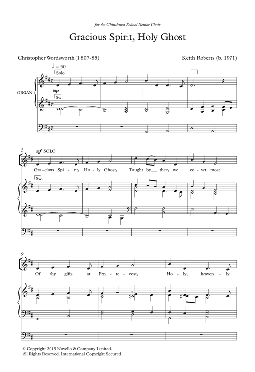 Download Keith Roberts 'Gracious Spirit, Holy Ghost' Digital Sheet Music Notes & Chords and start playing in minutes