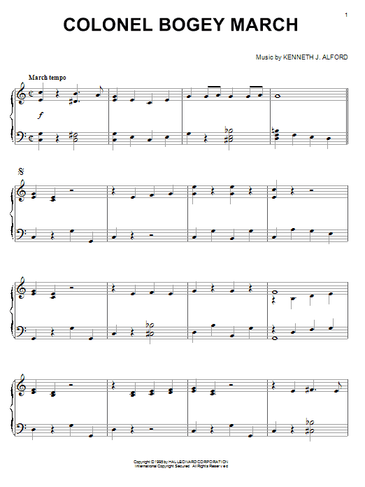 Download Kenneth J. Alford 'Colonel Bogey March' Digital Sheet Music Notes & Chords and start playing in minutes