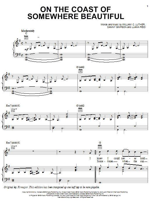 Kenny Chesney On The Coast Of Somewhere Beautiful sheet music preview music notes and score for Piano, Vocal & Guitar (Right-Hand Melody) including 6 page(s)
