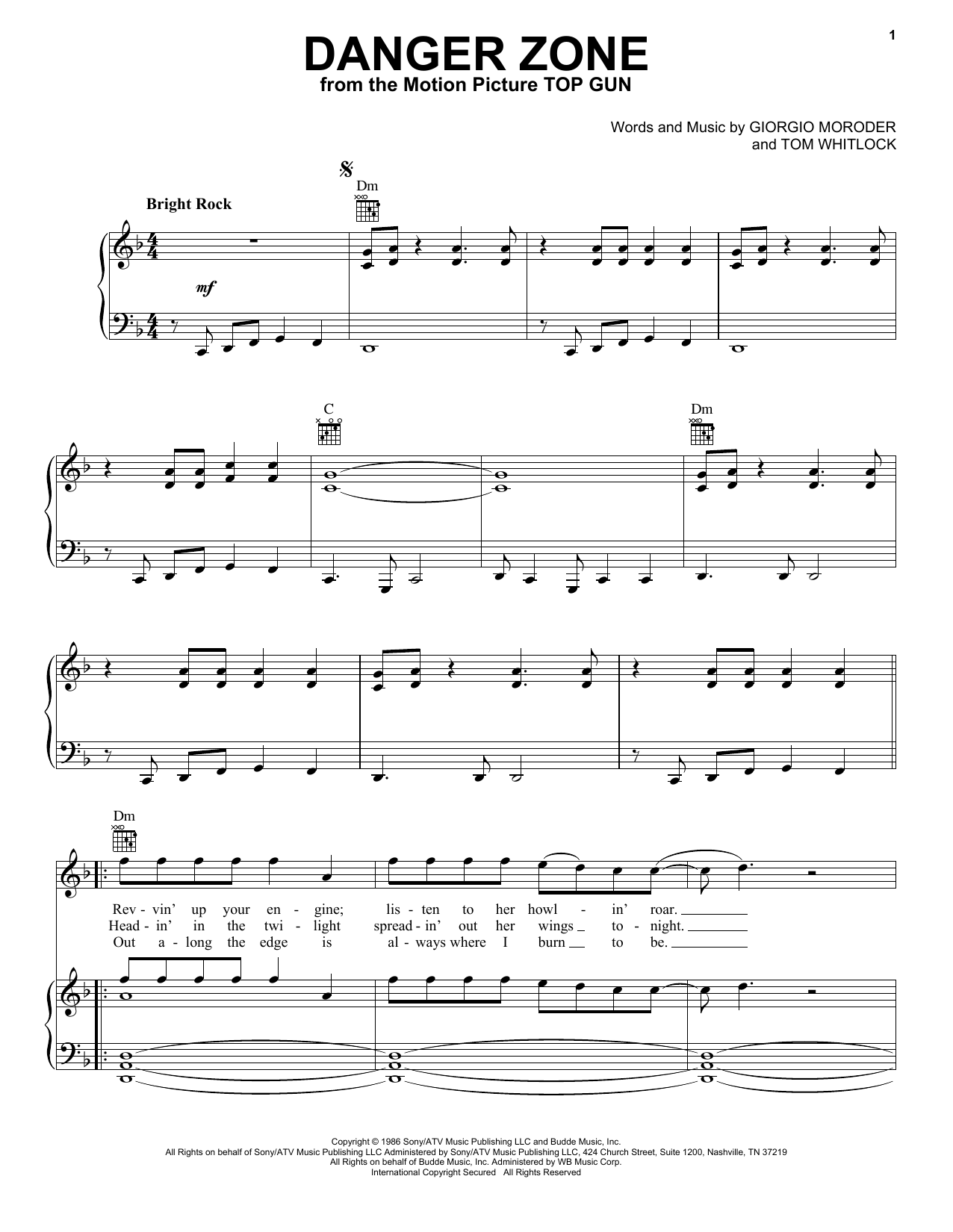 Kenny Loggins Danger Zone (from Top Gun) sheet music notes and chords
