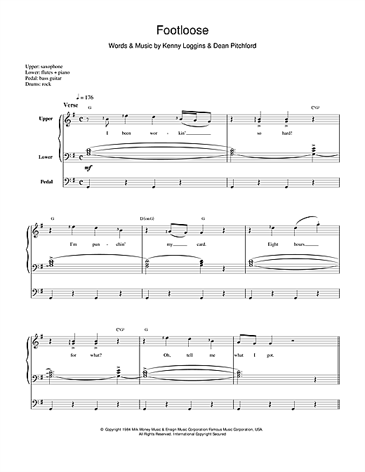 Kenny Loggins Footloose sheet music preview music notes and score for Piano, Vocal & Guitar (Right-Hand Melody) including 7 page(s)