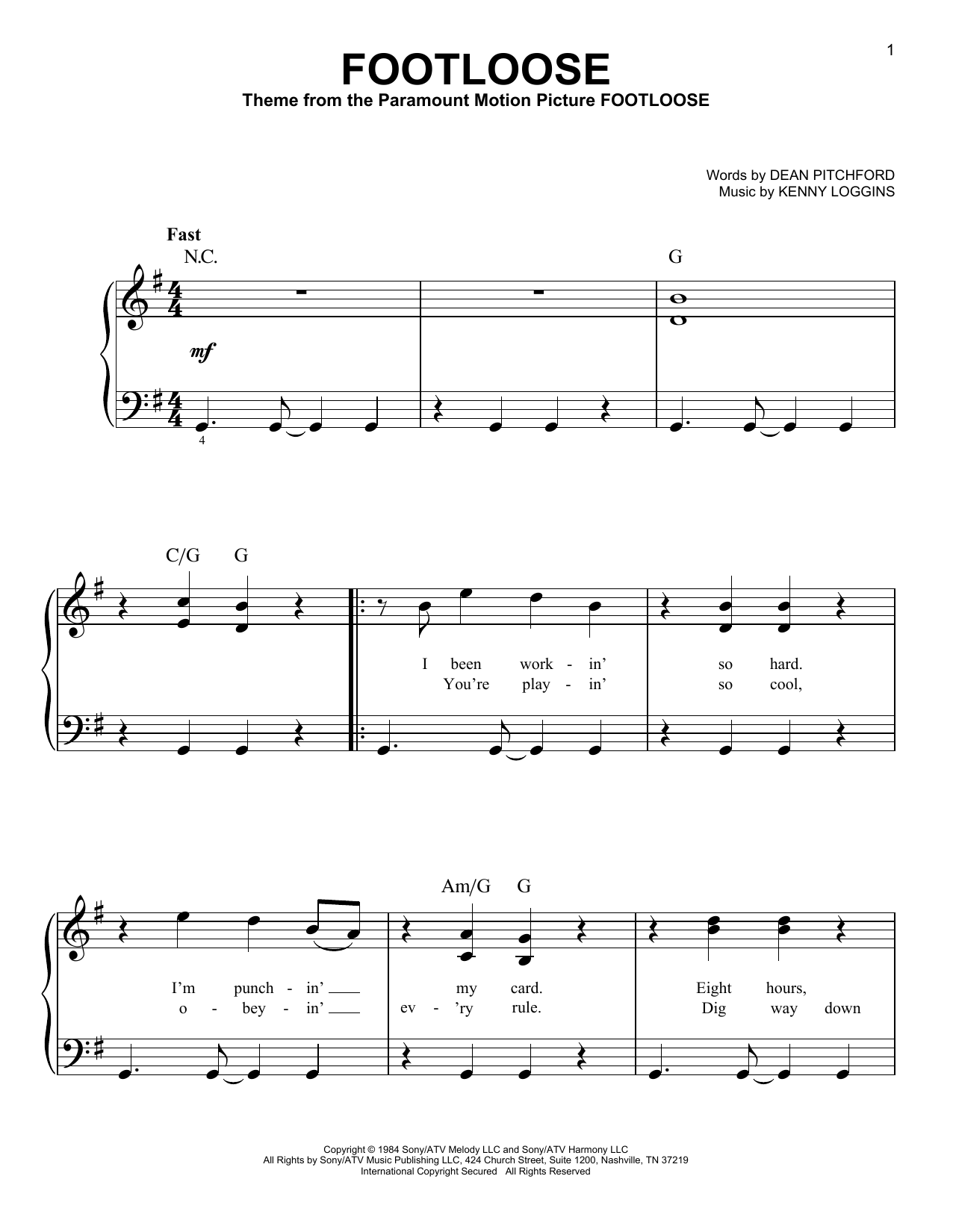Kenny Loggins Footloose sheet music preview music notes and score for Piano, Vocal & Guitar (Right-Hand Melody) including 10 page(s)