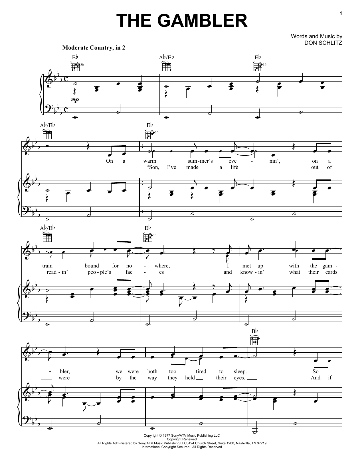 Download Kenny Rogers 'The Gambler' Digital Sheet Music Notes & Chords and start playing in minutes