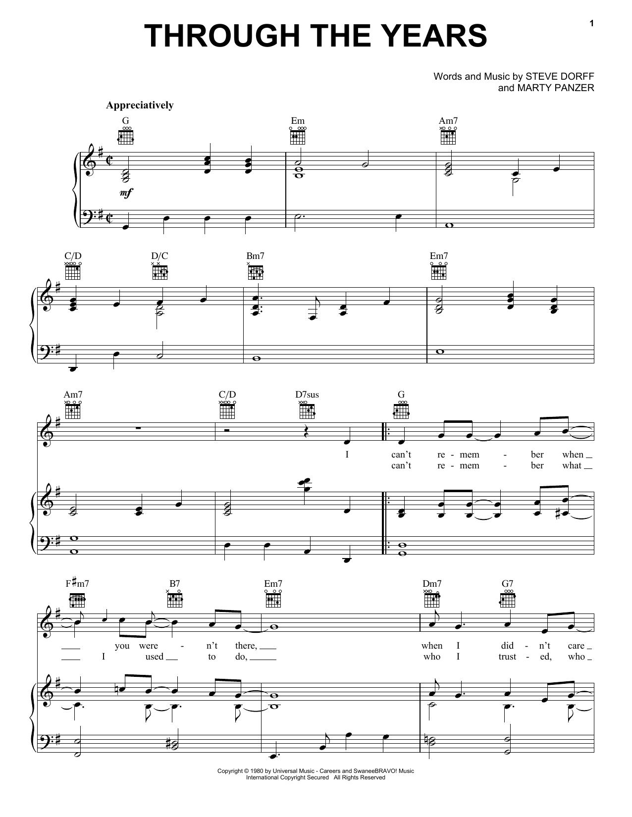 Download Kenny Rogers 'Through The Years' Digital Sheet Music Notes & Chords and start playing in minutes