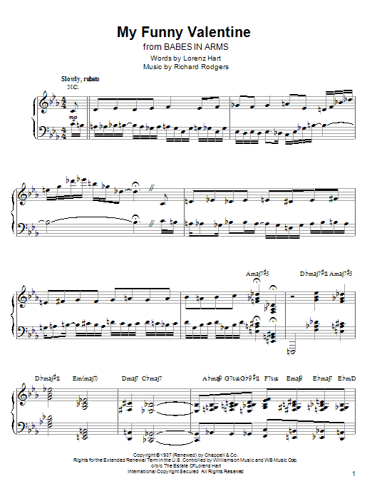 Kenny Werner My Funny Valentine sheet music preview music notes and score for ARTPNO including 9 page(s)