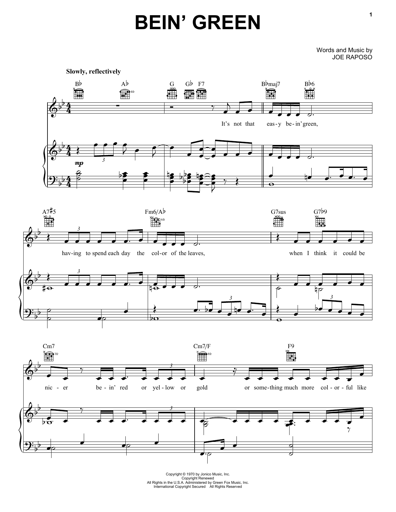 Download Kermit The Frog 'Bein' Green' Digital Sheet Music Notes & Chords and start playing in minutes
