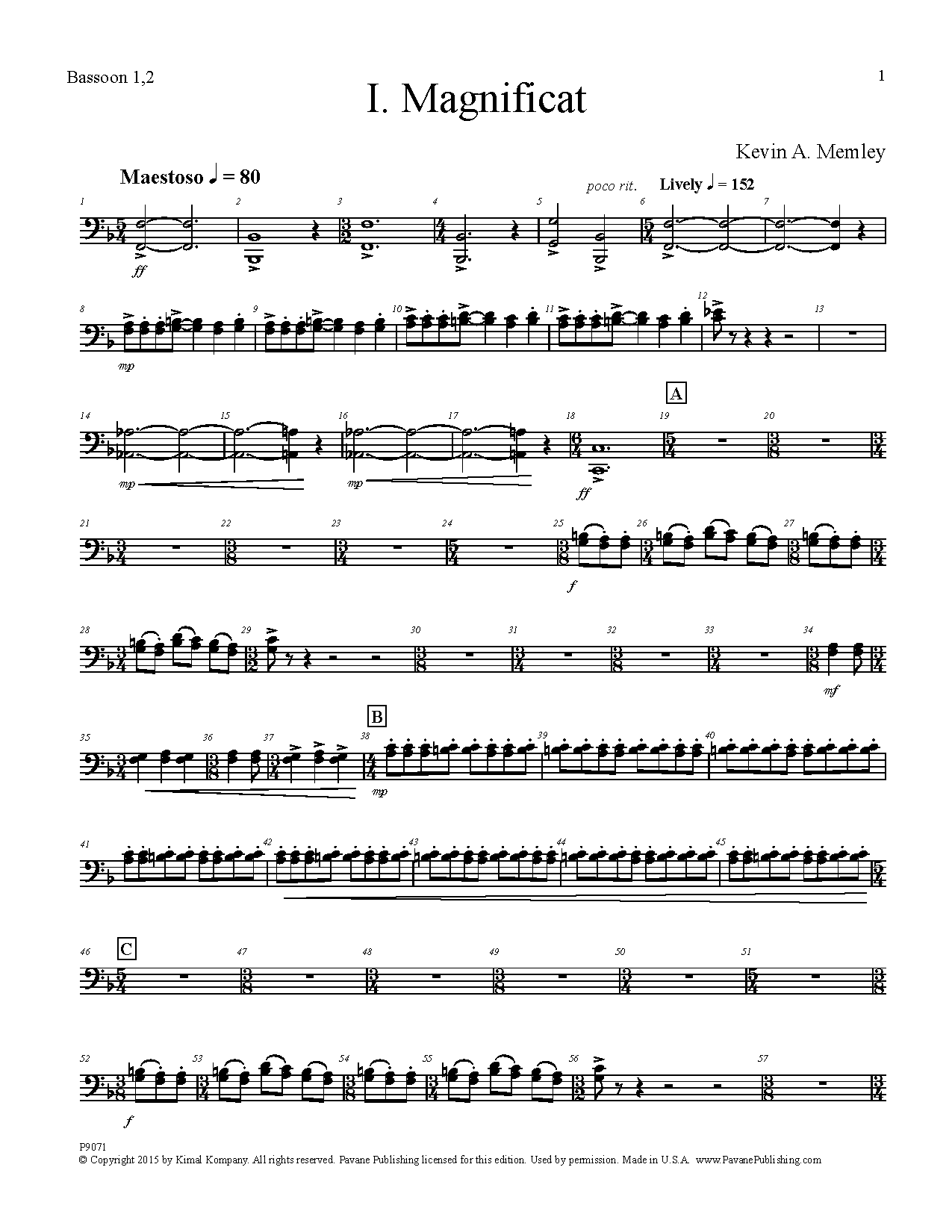 Kevin A. Memley Magnificat - Bassoon 1, 2 sheet music preview music notes and score for Choir Instrumental Pak including 6 page(s)