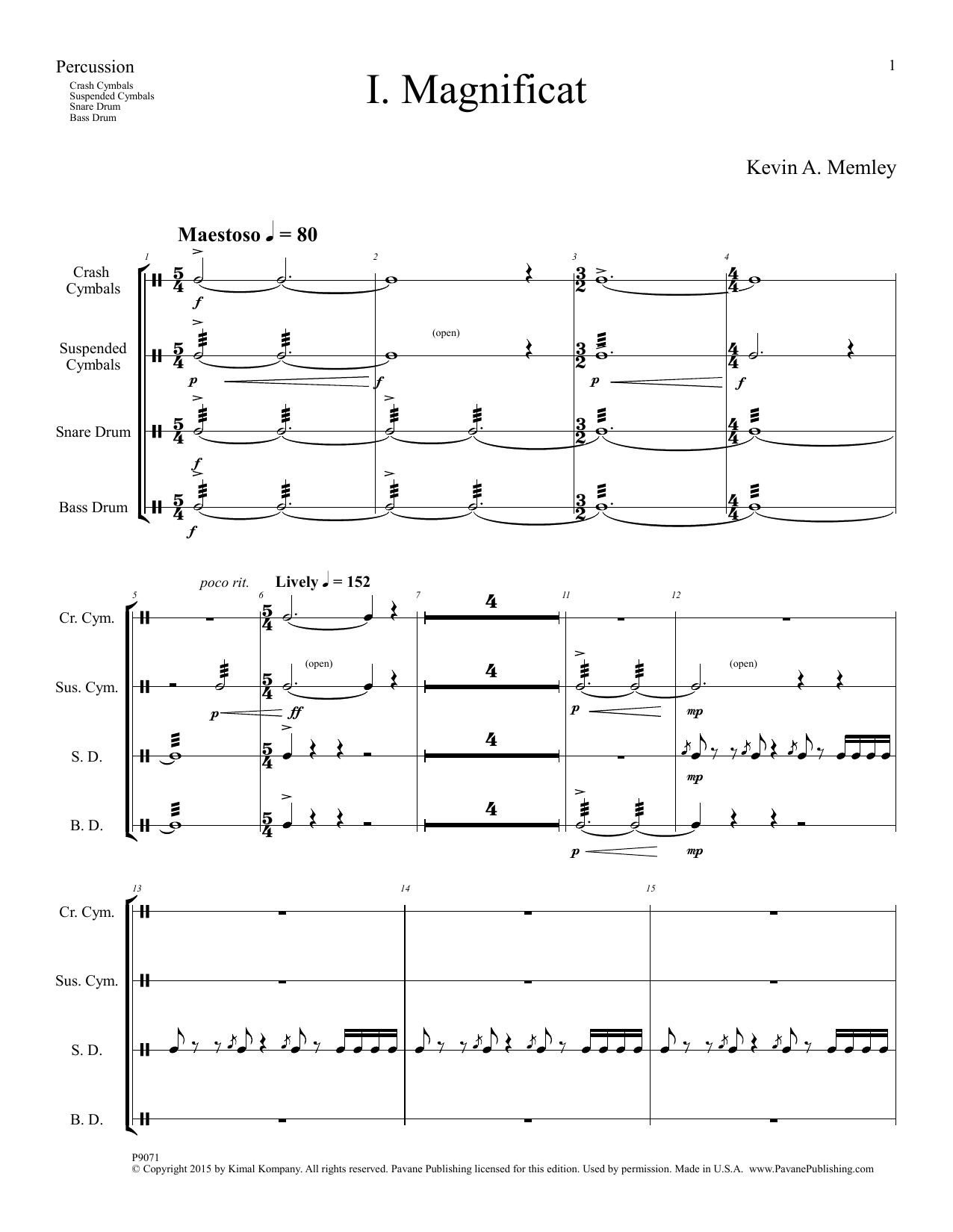 Kevin A. Memley Magnificat - Percussion sheet music preview music notes and score for Choir Instrumental Pak including 22 page(s)