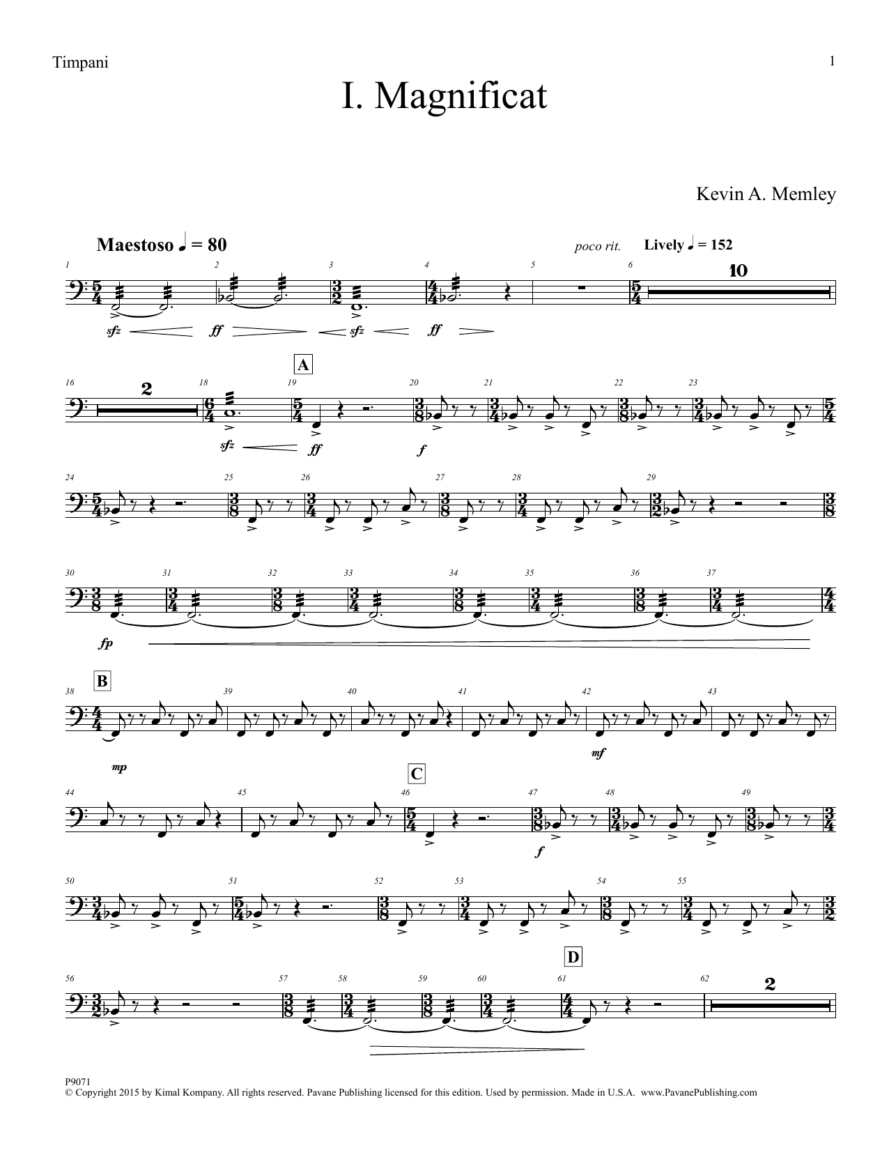 Kevin A. Memley Magnificat - Timpani sheet music preview music notes and score for Choir Instrumental Pak including 6 page(s)