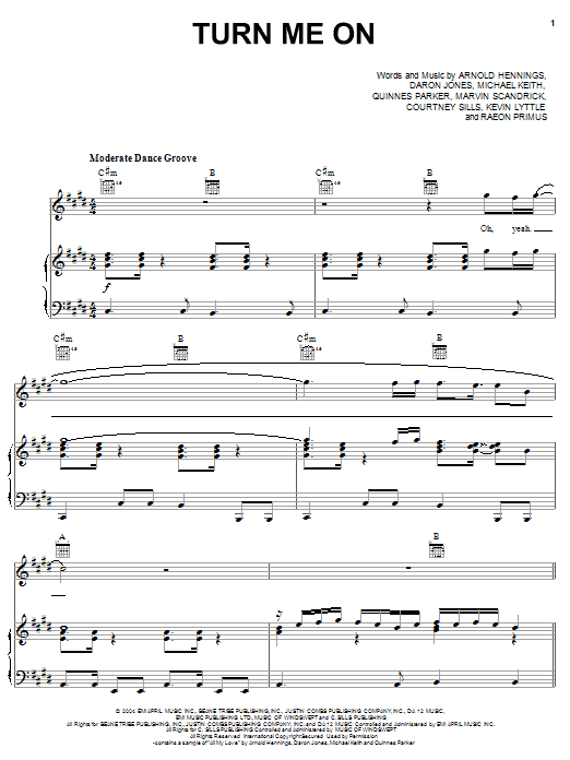 Kevin Lyttle Turn Me On (feat. Spragga Benz) sheet music preview music notes and score for Piano, Vocal & Guitar (Right-Hand Melody) including 7 page(s)