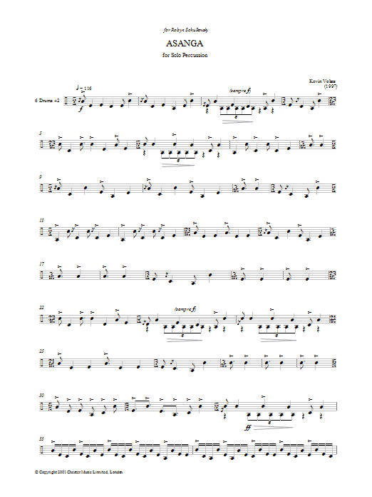 Kevin Volans Asanga sheet music preview music notes and score for Percussion including 7 page(s)