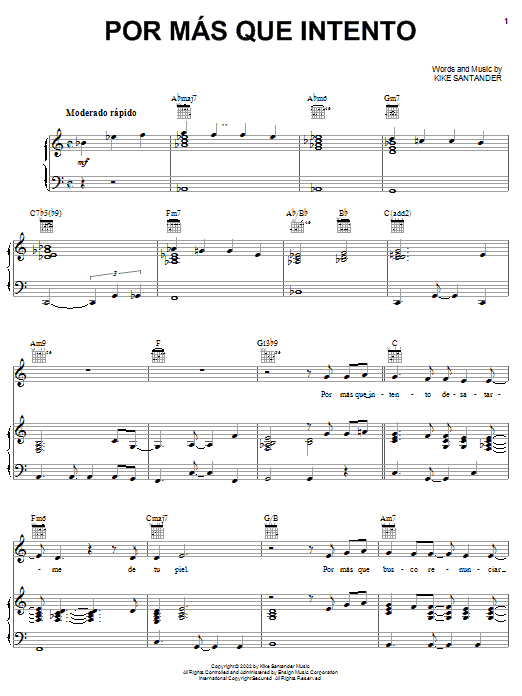 Kike Santander Por Mas Que Intento sheet music preview music notes and score for Piano, Vocal & Guitar (Right-Hand Melody) including 8 page(s)