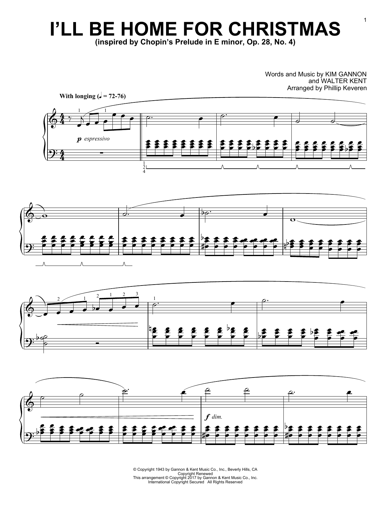 Download Phillip Keveren 'I'll Be Home For Christmas' Digital Sheet Music Notes & Chords and start playing in minutes