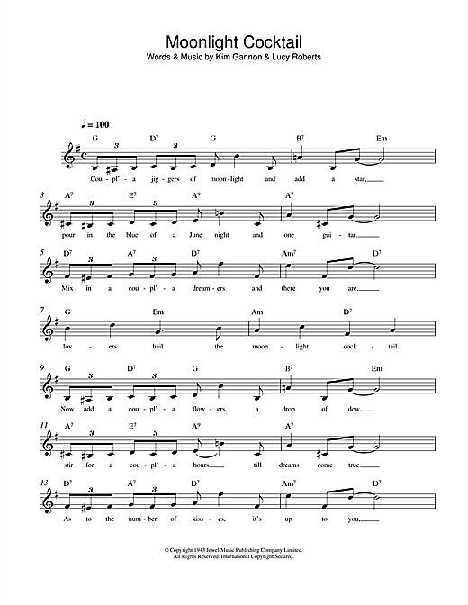Kim Gannon Moonlight Cocktail sheet music notes and chords