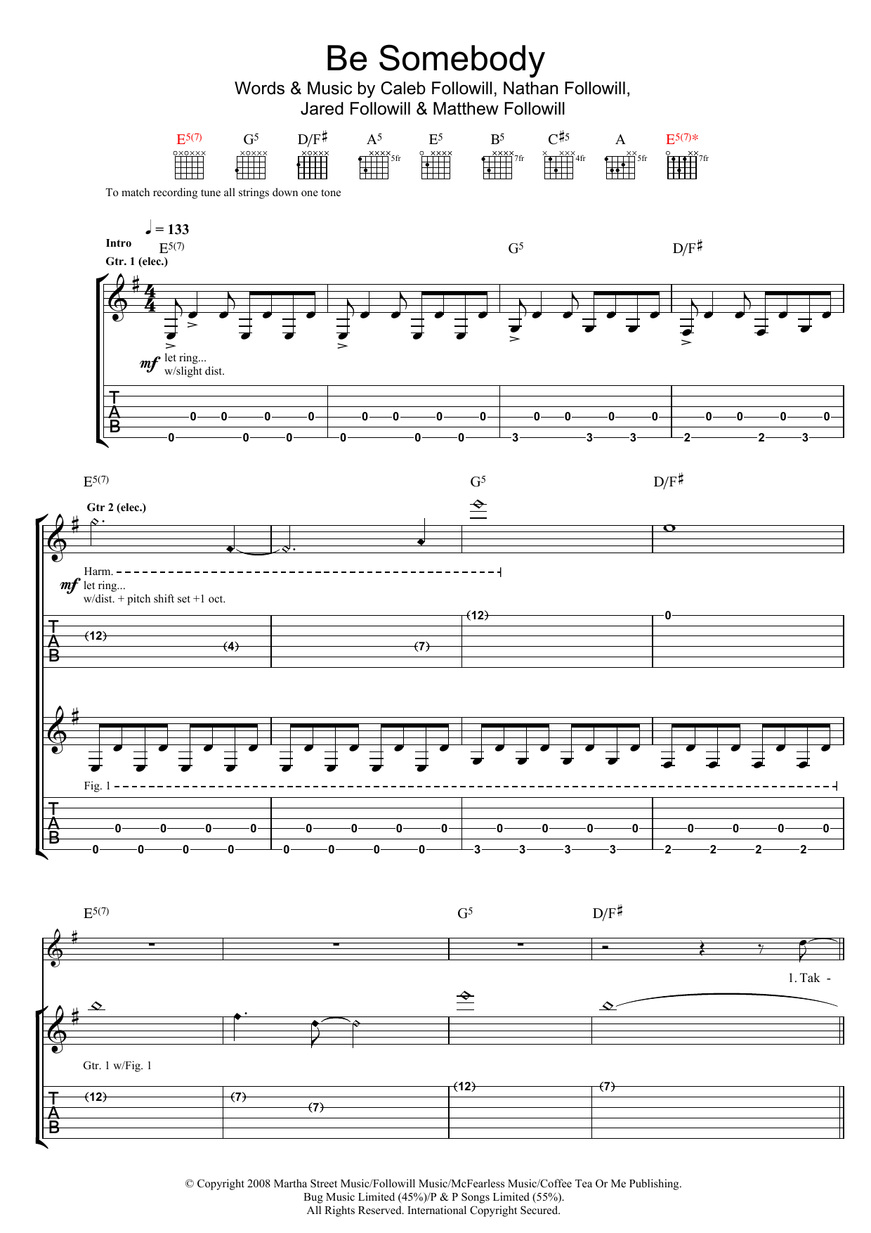 Kings Of Leon Be Somebody sheet music preview music notes and score for Piano, Vocal & Guitar (Right-Hand Melody) including 6 page(s)
