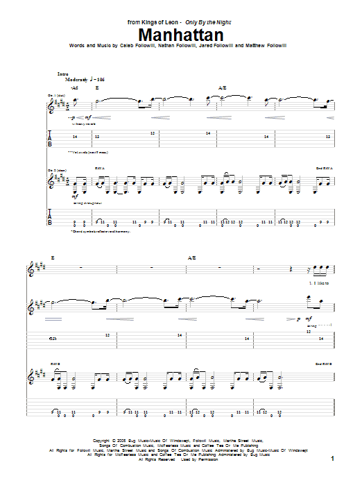 Kings Of Leon Manhattan sheet music preview music notes and score for Piano, Vocal & Guitar (Right-Hand Melody) including 6 page(s)