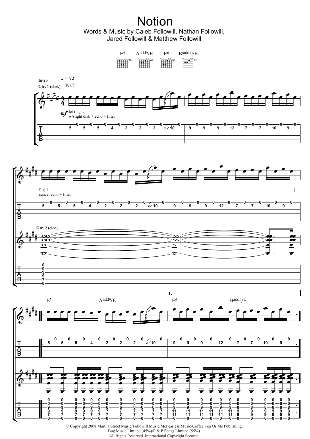 Kings Of Leon Notion sheet music preview music notes and score for Piano, Vocal & Guitar (Right-Hand Melody) including 7 page(s)