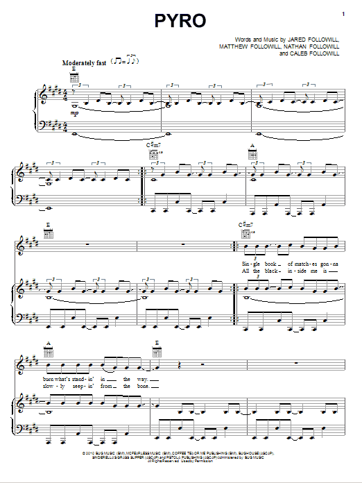Kings Of Leon Pyro sheet music preview music notes and score for Guitar Tab including 9 page(s)
