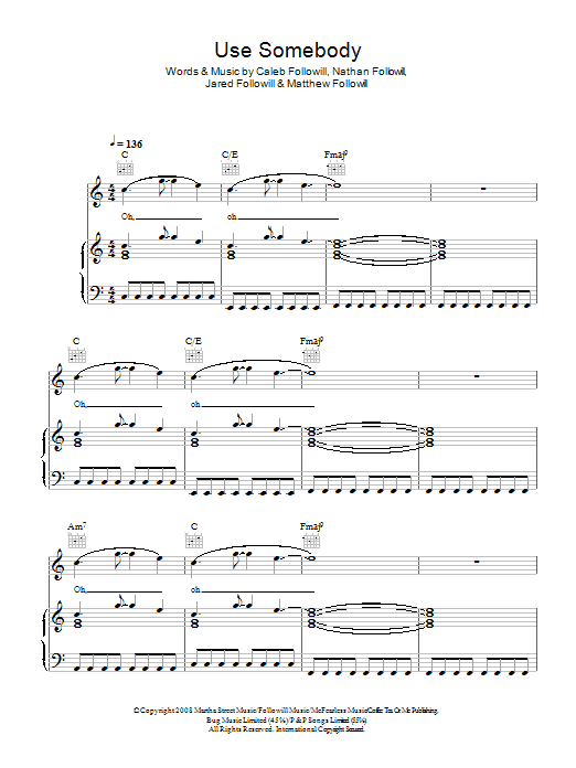 Kings Of Leon Use Somebody sheet music preview music notes and score for Piano, Vocal & Guitar (Right-Hand Melody) including 8 page(s)