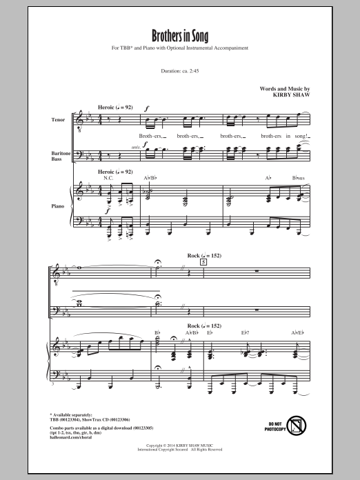 Download Kirby Shaw 'Brothers In Song' Digital Sheet Music Notes & Chords and start playing in minutes