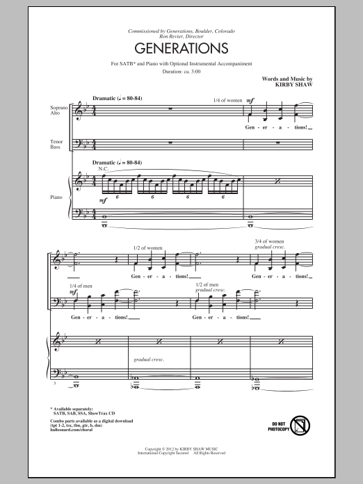 Kirby Shaw Generations sheet music preview music notes and score for SSA including 11 page(s)