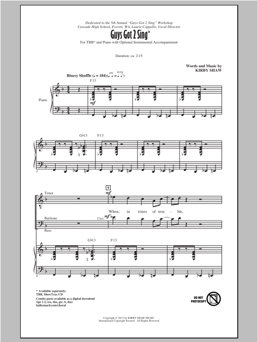 Download Kirby Shaw 'Guys Got To Sing' Digital Sheet Music Notes & Chords and start playing in minutes