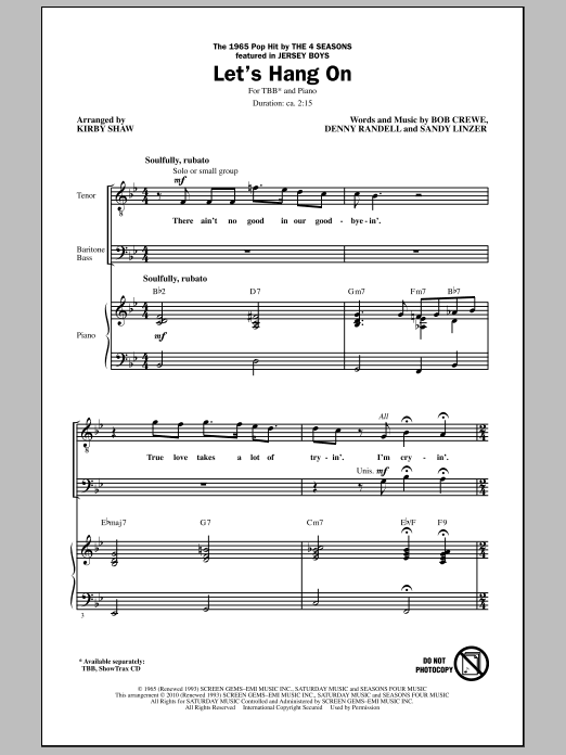 Download Kirby Shaw 'Let's Hang On' Digital Sheet Music Notes & Chords and start playing in minutes
