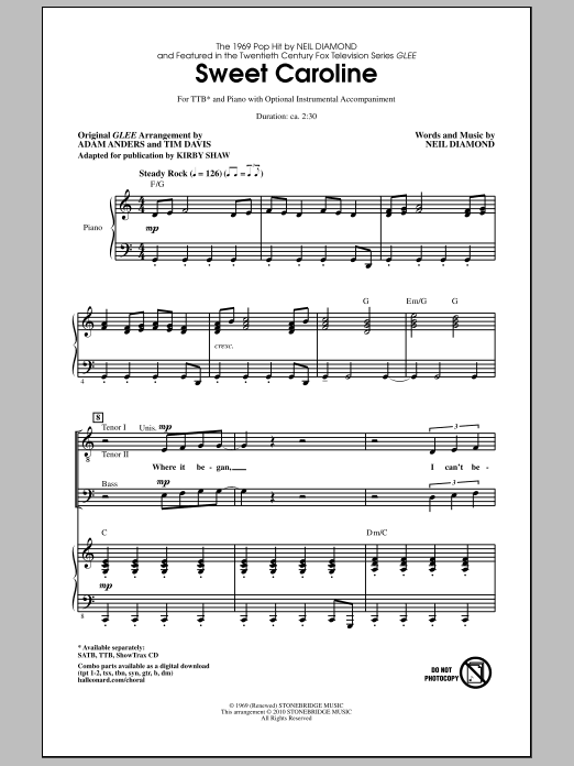 Download Kirby Shaw 'Sweet Caroline' Digital Sheet Music Notes & Chords and start playing in minutes