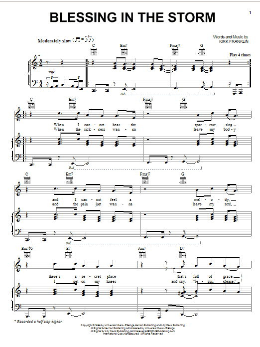 Kirk Franklin Blessing In The Storm sheet music preview music notes and score for Piano, Vocal & Guitar (Right-Hand Melody) including 5 page(s)